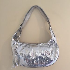Handbags - NWT Sliver Sequin  Baguette shaped Pocketbook.